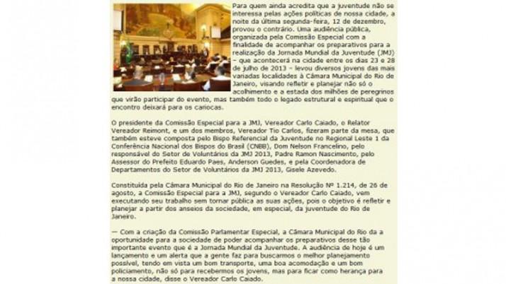 Câmara debate evento da Juventude Católica