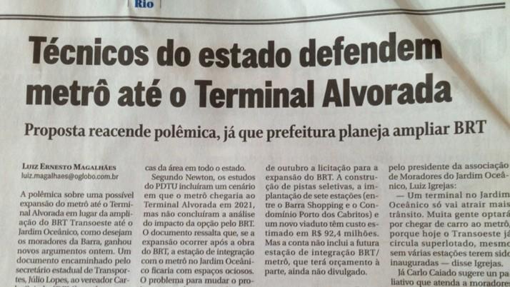 Em entrevista ao jornal o Globo, Caiado defende extensão do metrô até o Terminal Alvorada
