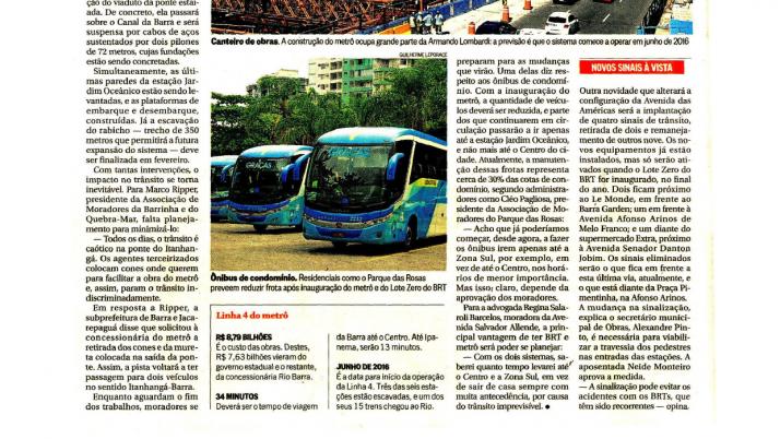 O Globo Barra: Obras da Linha 4 do metrô e do BRT avançam