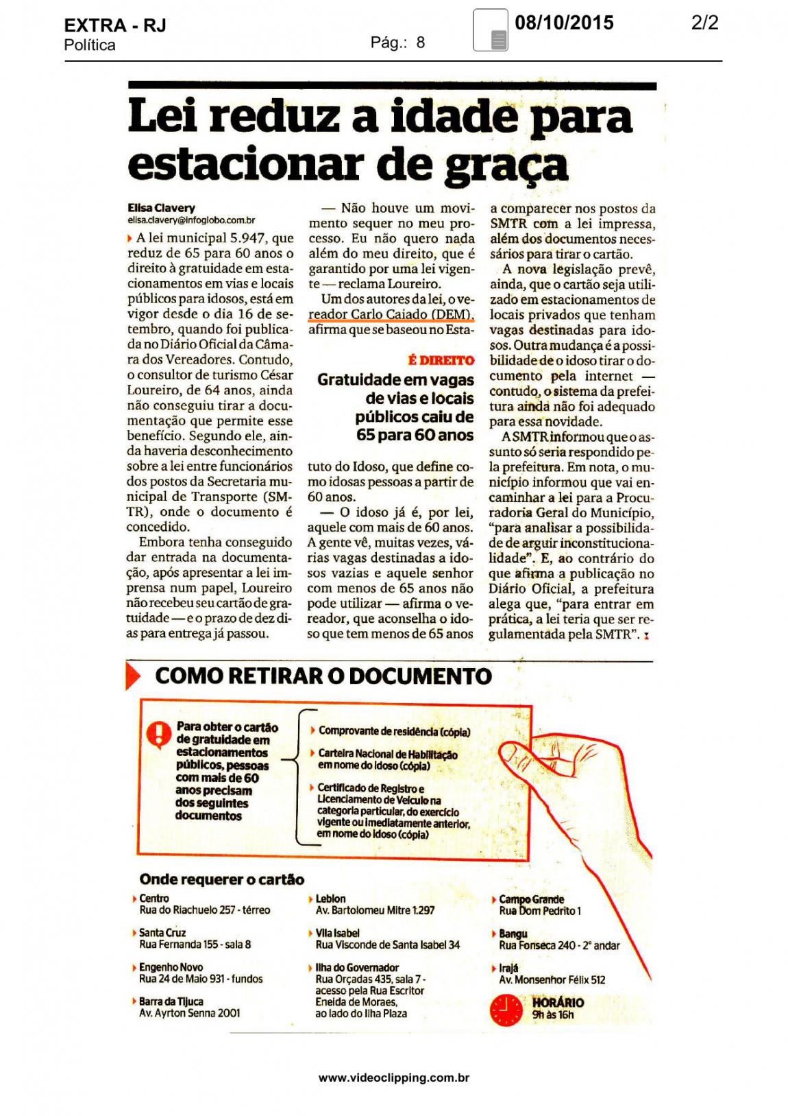 Jornal Extra: Lei reduz idade para estacionar de graça