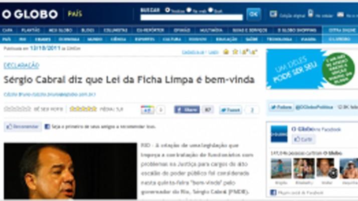 Cabral diz que Lei da Ficha Limpa é bem-vinda