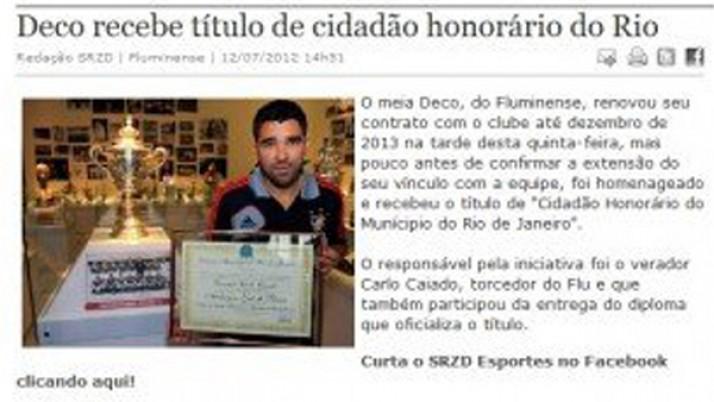 Caiado entrega título de Cidadão Honorário do Rio de Janeiro ao Deco