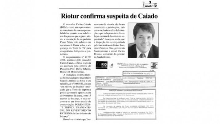RI de Caiado sobre precárias condições da torre de imprensa do Sambódromo é destaque em jornal