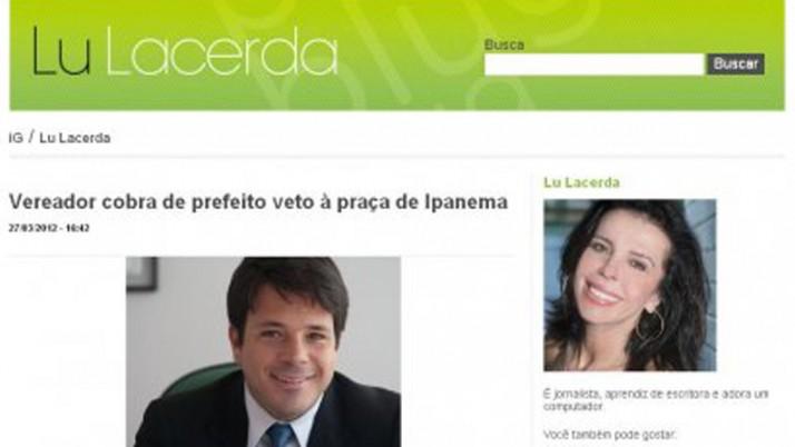 Vereador cobra de prefeito veto à praça de Ipanema