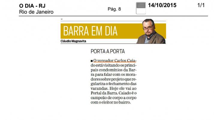Jornal O Dia: Barra Em Dia, Caiado nas ruas