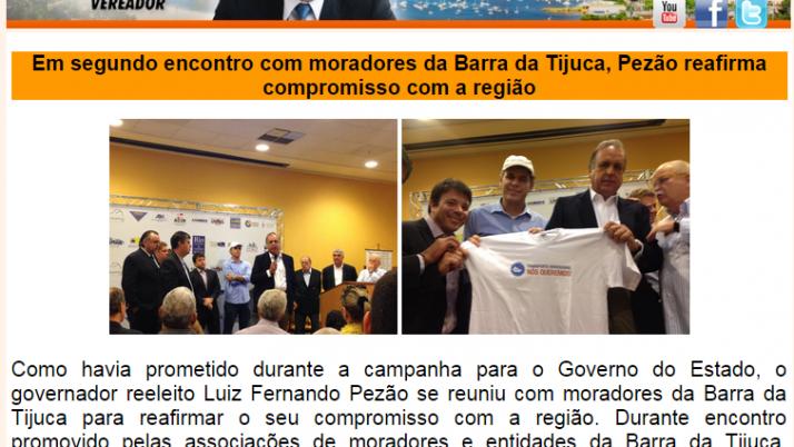 Em segundo encontro com moradores da Barra da Tijuca, Pezão reafirma compromisso com a região