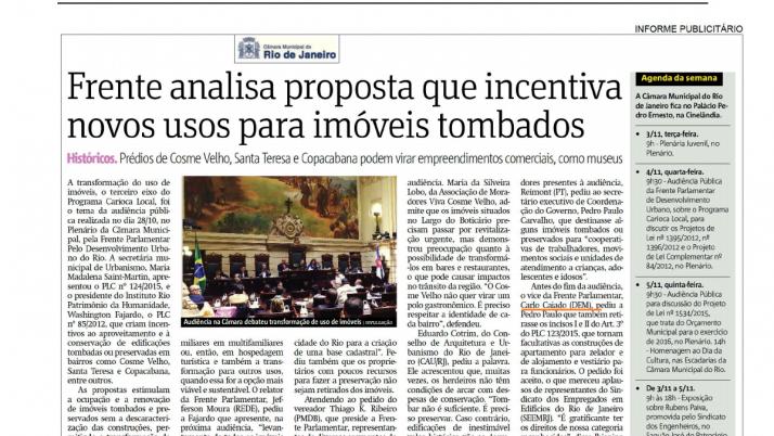 Jornal Metrô: Frente Parlamentar analisa proposta que incentiva novos usos para imóveis tombados
