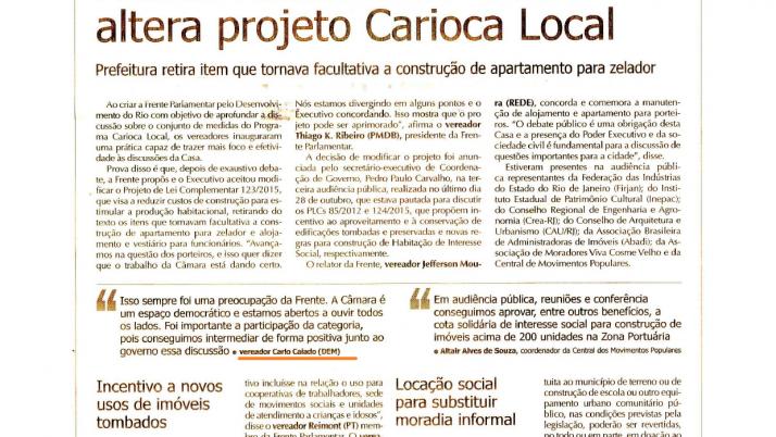 O Globo: Frente Parlamentar atua e altera projeto Carioca Local
