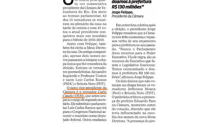 Jornal O Dia: Caiado é eleito vice-presidente da Câmara de Vereadores do Rio