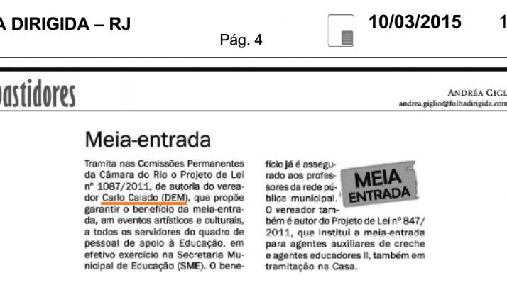 Folha Dirigida: Meia entrada para eventos artísticos e culturais
