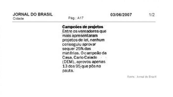 Jornal do Brasil confirma: Carlo Caiado é o vereador mais atuante