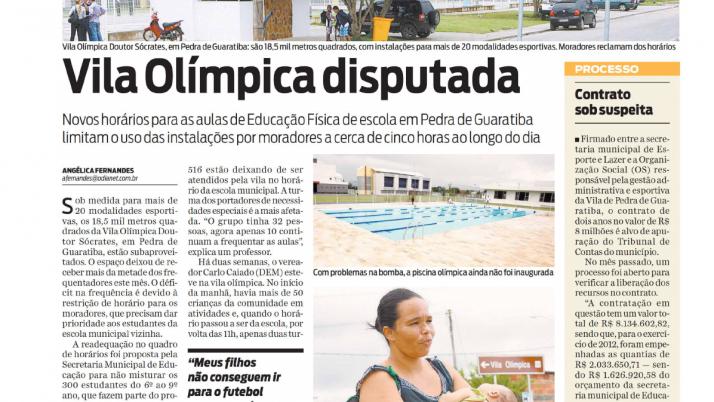 O Dia: Caiado visita Vila Olímpica em Pedra de Guaratiba