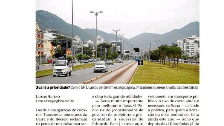 O Globo Barra: Em Ofício enviado à Prefeitura, Caiado solicita terceira faixa de veículo na Av. das Américas