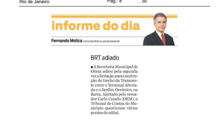 Informe O Dia: Caiado Questiona ao TCU pontos do edital de construção Transoeste entre Alvorada e Jardim Oceânico