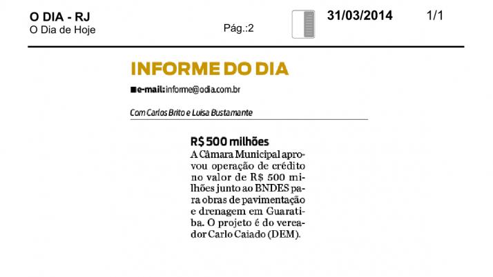 Informe O Dia: Projeto de Caiado para obras em Guaratiba é aprovado pela Câmara