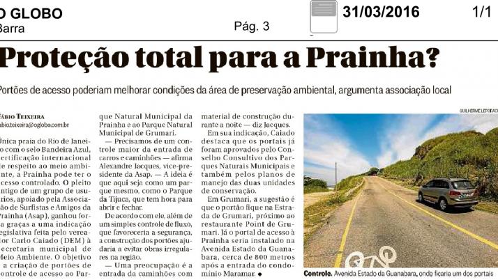 Preservação ambiental: Caiado solicita à Prefeitura Portais de Controle de Acesso aos parques da Prainha e Grumari