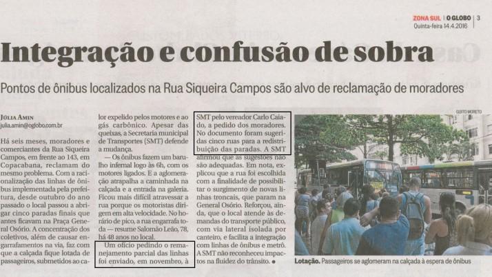 O Globo Zona Sul: Atendendo a pedidos de moradores, Caiado encaminha Ofício à Prefeitura solicitando retirada de terminal de ônibus da Rua Siqueira Campos em Copacabana