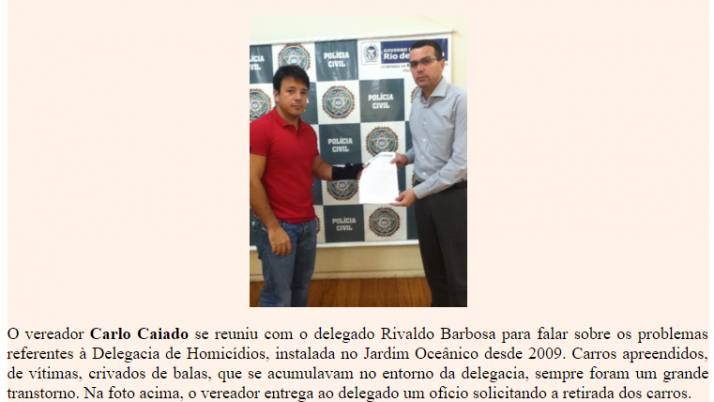 Ver. Carlo Caiado – Diário da Barra 01/2012