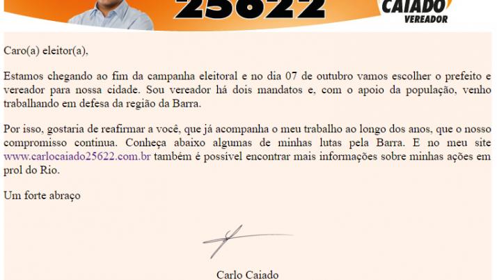 Ver. Carlo Caiado – Diário da Barra 09/2012