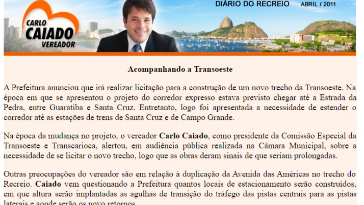 Ver. Carlo Caiado – Diário do Recreio 04/2011