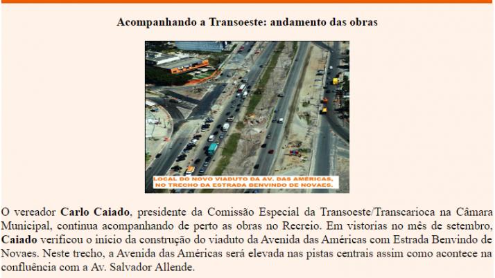 Ver. Carlo Caiado – Diário do Recreio 09/2011