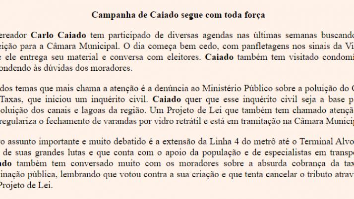 Ver. Carlo Caiado – Diário do Recreio 09/2012