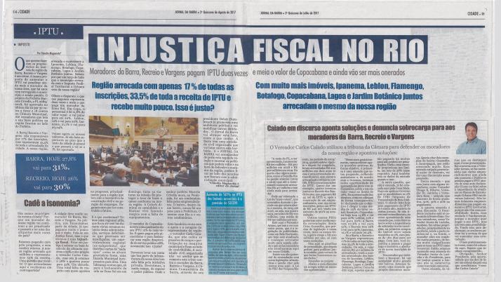 Jornal destaca atuação de Caiado contra o aumento de IPTU na Cidade