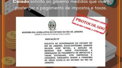 Caiado solicita ao governo medidas que visem postergar o pagamento de impostos e taxas