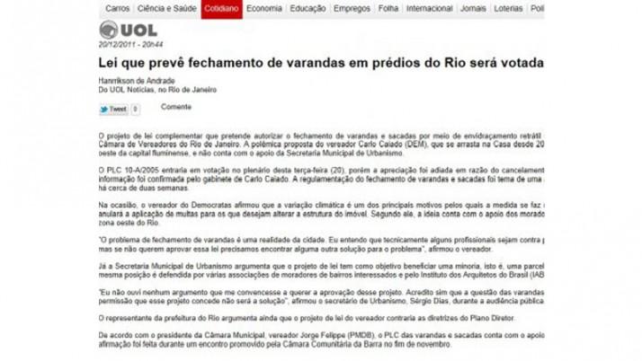 Portal Uol noticia votação do PL das Varandas