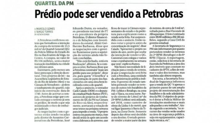 QG da PM pode ser vendido para Petrobras