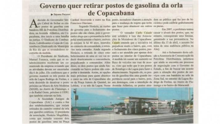 Caiado defende manutenção dos postos de gasolina na Avenida Atlântica
