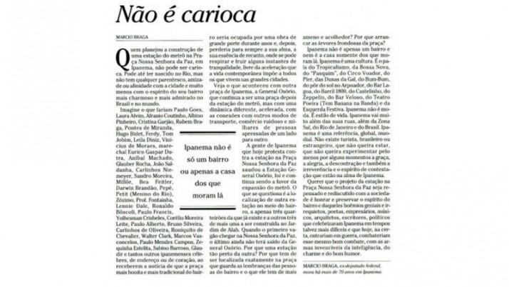 Não é Carioca – Artigo de Márcio Braga – Em defesa da Praça Nossa Senhora da Paz