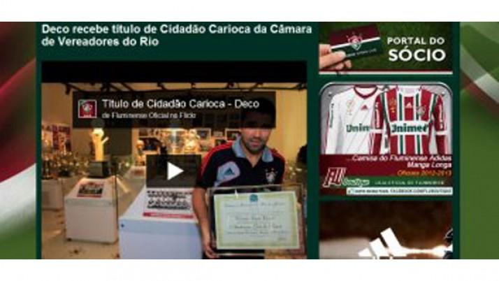 Site do Fluminense dá destaque a homenagem de Caiado a Deco