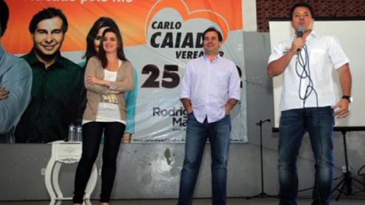 Caiado recebe visita de Rodrigo Maia e Clarissa em Convenção