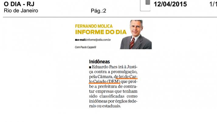 Jornal O Dia, Informe do Dia: Projeto de lei impede a contratação de empresas inidôneas pelo serviço público
