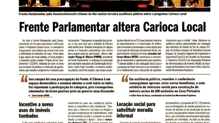 Expresso: Frente Parlamentar altera Carioca Local