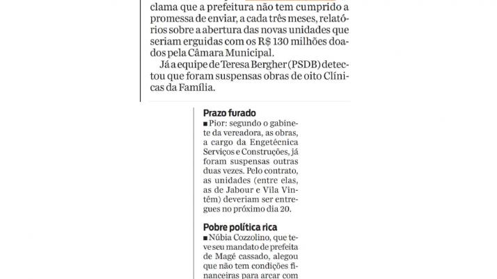 Jornal O Dia, Informe do Dia: Construções de clínicas da família