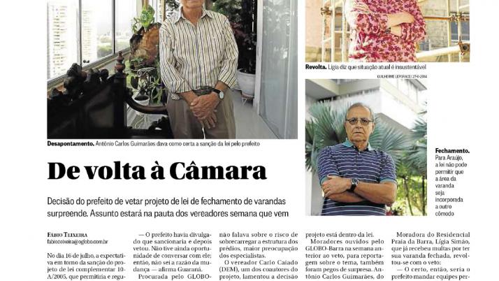 O Globo Barra:  Caiado continua trabalhando para aprovar Projeto de Lei que prevê fechamento de Varandas