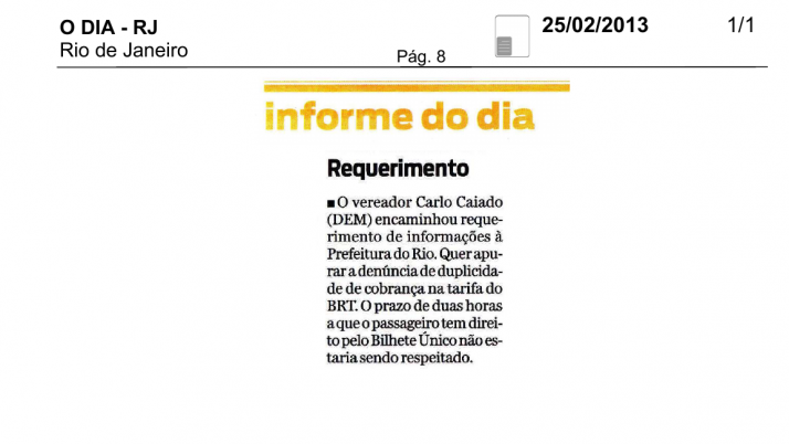 Informe O Dia: Vereador Caiado questiona à Prefeitura tarifa em duplicidade do BRT