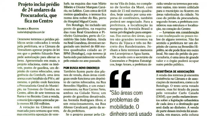 O Globo: Projeto de venda de Imóveis Públicos pela Prefeitura é questionado pelo Vereador Carlo Caiado