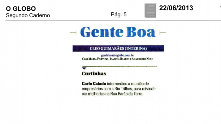 O Globo: Caiado reivindica melhorias na Rua Barão da Torre