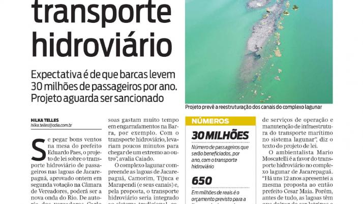 O Dia: Câmara aprova Lei de Caiado e Lagoa da Barra terá Transporte Hidroviário