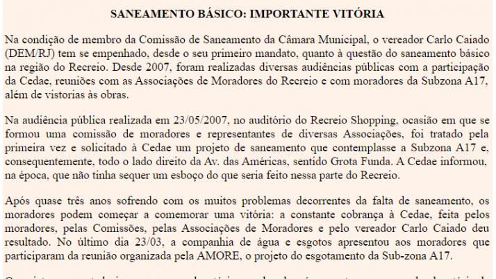 Ver. Carlo Caiado – Diário do Recreio 02/2010
