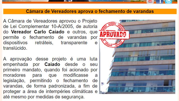 Ver. Carlo Caiado – Diário da Barra 05/2014
