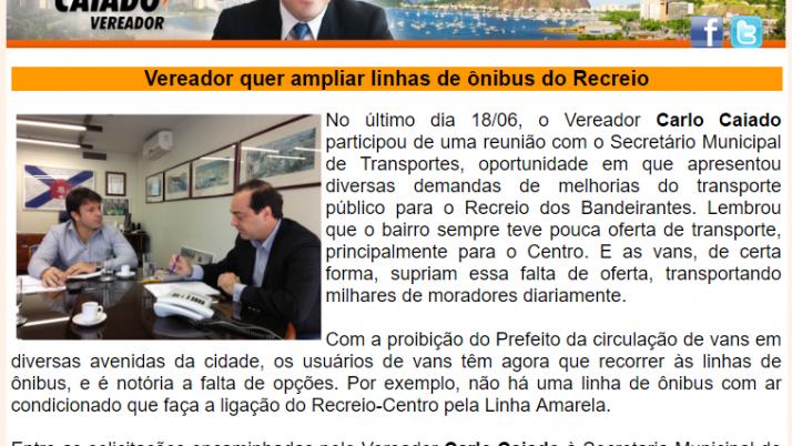 Ver. Carlo Caiado – Diário do Recreio 06/2013