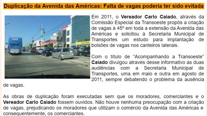 Ver. Carlo Caiado – Diário do Recreio 08/2013