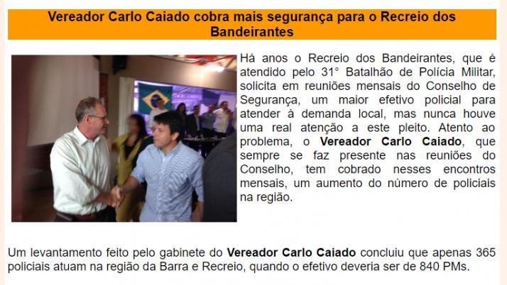 Ver. Carlo Caiado – Diário do Recreio 10/2013