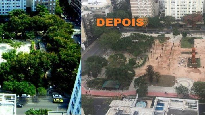 Moradores da Praça Antero de Quental reivindicam replantio de árvores