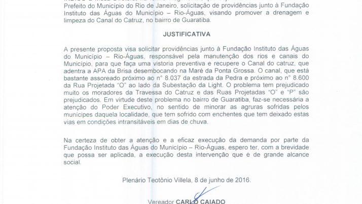 Vereador Caiado solicita drenagem e limpeza do Canal de Catruz