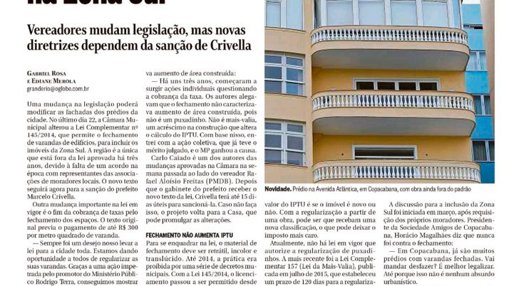 Jornal O Globo: Lei agora permitirá varandas fechadas na Zona Sul